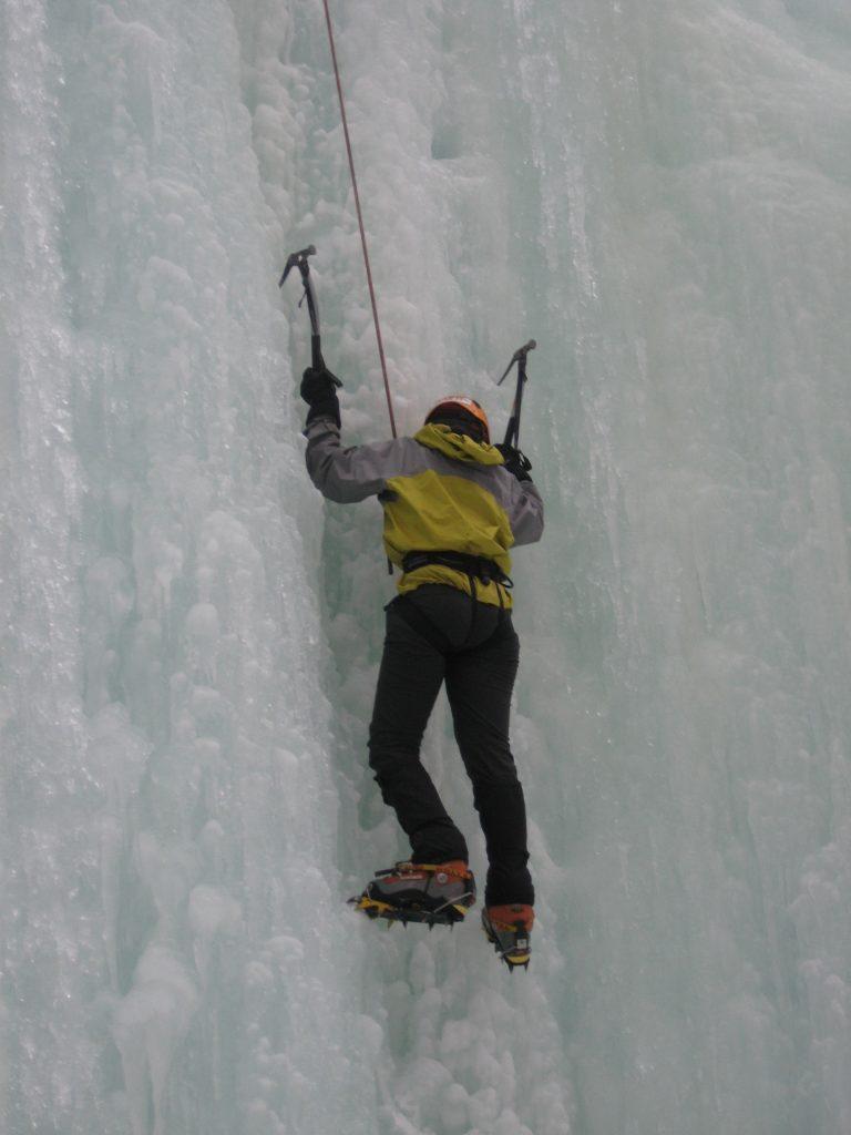 Jenni ice climbing in Alaska