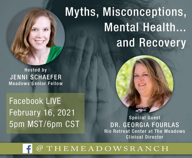 a graphic with Jenni Schaefer and Dr. Georgia Fourlas with the title, Myths, Misconceptions, Mental Health...and Recovery